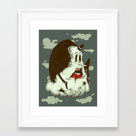 Creep Cloud Face Melt Framed Art Print