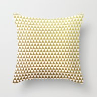 Triangles - Gold And Whi… Throw Pillow
