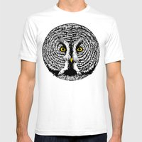 Round Owl Mens Fitted Tee White SMALL