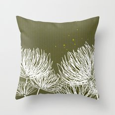Olive Doodle Floral by Friztin Throw Pillow