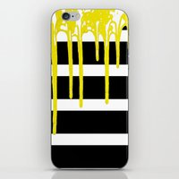 Striped Drip Yellow iPhone & iPod Skin