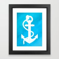 White Anchor Framed Art Print