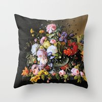 Vintage Varnish- Flowers… Throw Pillow