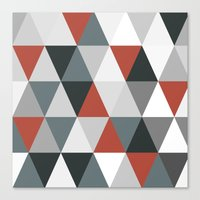 Big triangles red and grey Canvas Print
