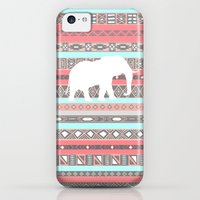 iPhone 5c Cases featuring Elephant Aztec Pattern Pastel Peach Aqua Print by RexLambo