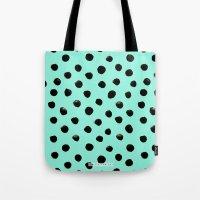 Turq Black Dot Watercolo… Tote Bag