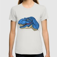 Felling Blue T-Rex - Dinosaur  Womens Fitted Tee Silver SMALL