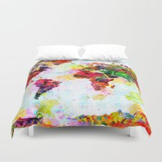Abstract World Splatter Map Duvet Cover