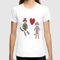Sock Monkey Love Womens Fitted Tee White SMALL