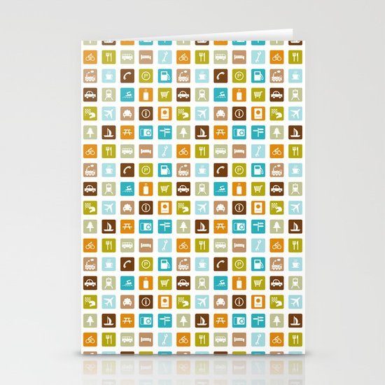 Travel Icons Stationery Card