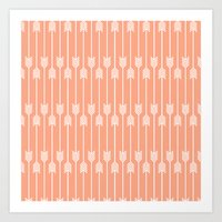 Peach And White Arrows Art Print