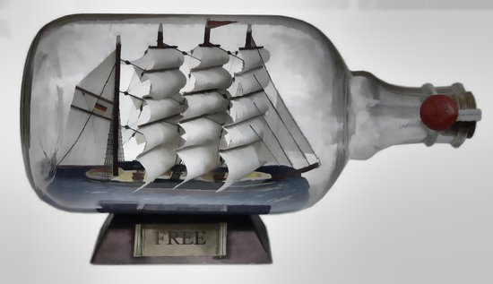 Free Ship in (Bottle) Art Print