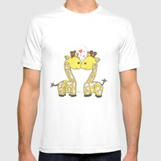 Giraffes in Love Mens Fitted Tee White SMALL