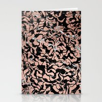 Trendy faux rose gold geometric black marble illustration pattern Stationery Cards
