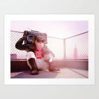 Monkey Beat Art Print