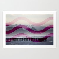 Waves And Pier Art Print