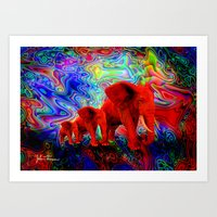 Psychedelic Pachyderms Art Print