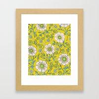 Lemon Yellow Floral Framed Art Print