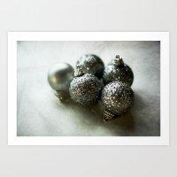 Silver Baubles Art Print