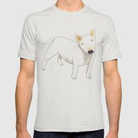 Bull Terrier Mens Fitted Tee Silver SMALL