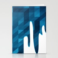 Polygon Drip Blue Stationery Cards