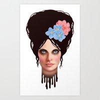 Goth Girl Tears Art Print