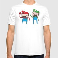 Mario Bros. Mens Fitted Tee White SMALL