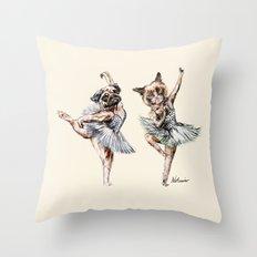 Hipster Ballerinas - Dog Cat Dancers Throw Pillow