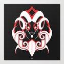 Warrior (White & Red) Canvas Print