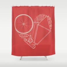 Love Bike (On Red) Shower Curtain