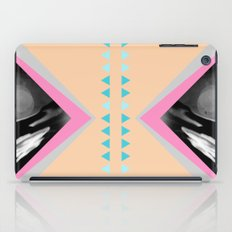 Peachy with Blue Triangles iPad Case
