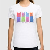 RAINBOW CATS Womens Fitted Tee Ash Grey SMALL
