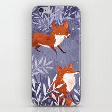 Foxes And Fireflies iPhone & iPod Skin