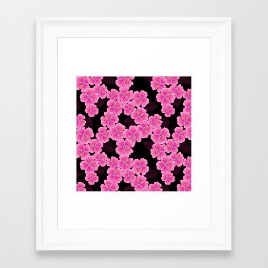 """""""pink on black"""" Framed Art Print"""