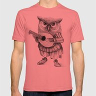 MISTER OWL Mens Fitted Tee Pomegranate SMALL