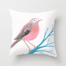 Chirpy Pink Bird Throw Pillow