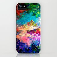 iPhone 5/5s Case featuring WELCOME TO UTOPIA Bold Rainbow Multicolor Abstract Painting Forest Nature Whimsical Fantasy Fine Art by EbiEmporium