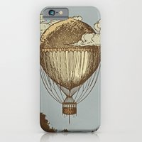 iPhone Cases featuring Around the world the incredible Steamballoon by dvdesign