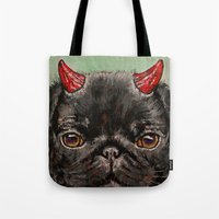 Black Pug Tote Bag