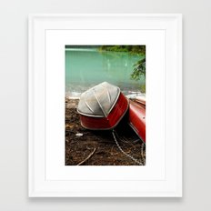 Emerald lake Boat Framed Art Print