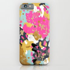 Laurel - Abstract painting in a free style with bold colors gold, navy, pink, blush, white, turquois iPhone 6 Slim Case