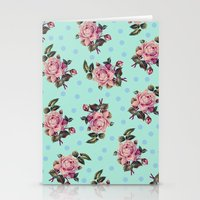 Pink Roses On Blue Stationery Cards