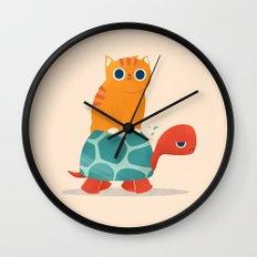 Fat Cat Rides a Turtle Wall Clock