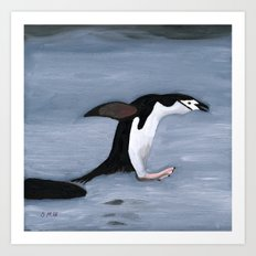 Chin Strap Penguin Taking the Plunge Art Print
