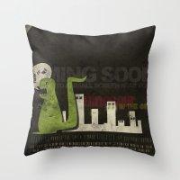 Dinosaur in the City Throw Pillow