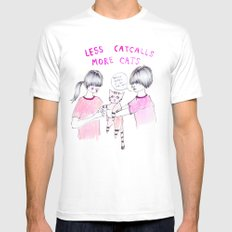 Less Catcalls, More Cats SMALL Mens Fitted Tee White