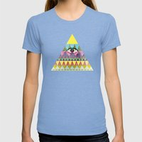 Pyramid in Space. Womens Fitted Tee Tri-Blue SMALL