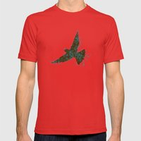 Bird Fly No. 2  (Brown/Aqua) Mens Fitted Tee Red SMALL