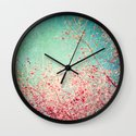 Blue Autumn, Pink leafs on blue, turquoise, green, aqua sky Wall Clock