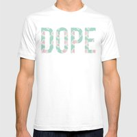 Dope Floral Teal Mens Fitted Tee White SMALL